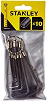 Stanley Set 10 Allen Wrenches with Ring , STMT69213-8, H11.8 x W26.4 x D0.4 cm, Black/Yellow
