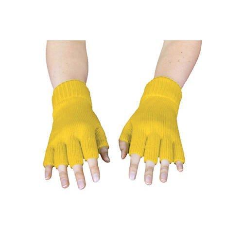 Strick-Handschuhe, fingerlos, Gelb