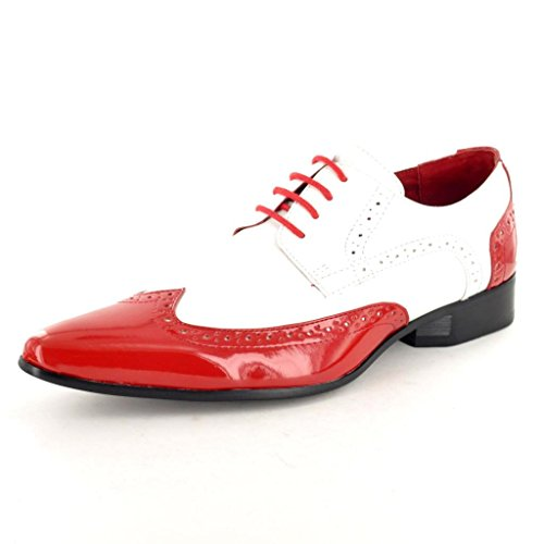 Kleid Schwarz Größe Schuhe 9 (My Perfect Pair Herren Schwarz Weiß Lack Leder Optik Spitz Zulaufender Zehenbereich Winkle Picker Kleid Abendanzug Halbschuhe Schuhe Größen 6789101112, Rot - Rot/Weiß - Größe: 44 EU)