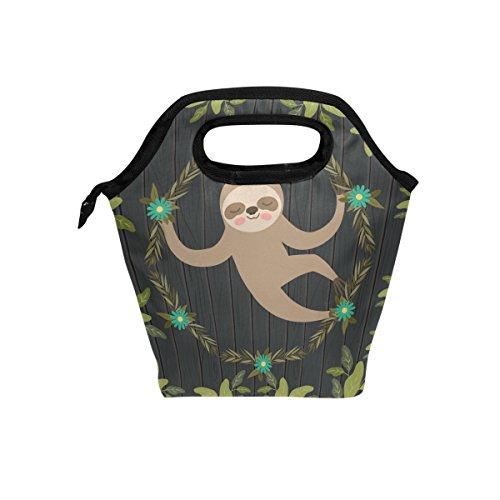 nch Tasche Tasche Kühler Faultier in the Jungle Szene Lunch-Boxen Tragbarer Handtasche für Outdoor Picknick Frauen Kinder ()