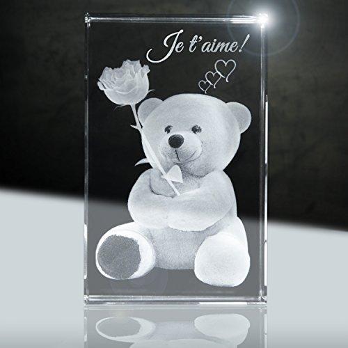 3D cristal | Je t'aime | illustration: Ours en peluche avec rose | 80x50x50mm | Cadeau partenaire