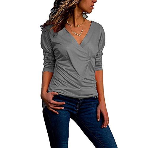 Damen Oberteile MYMYG Mode Frauen Solides T-Shirt V-Ausschnitt Büro Damen Plain Roll Ärmel Bluse Tops Herbst und Winter Sweatshirt(Grau,EU:40/CN-XL)