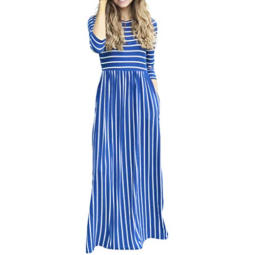 XZDCDJ Mode Frauen Langarm gestreift gedruckt Beiläufig Taschen Lange Maxi Dress(XXL,Blue) - Langarm-gestreiften Uniform