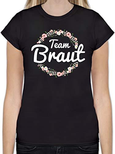 JGA Junggesellinnenabschied - Team Braut Blumenkranz - L - Schwarz - L191 - Tailliertes Tshirt für Damen und Frauen T-Shirt