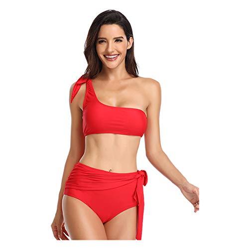 Meijunter Womens Off Shoulder Tankini Badeanzug Set - Kurze High Waist Schnür Bikini Gepolstert Strand Baden Bademode (2 Stück), Rot, L - Kurze Bikini-set