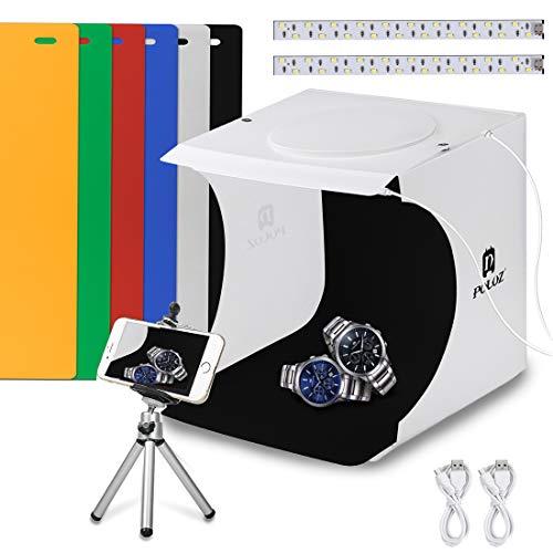 """Coolway Verbesserte 40 LED Faltbare & Tragbare Foto-Beleuchtung Studio (9,4\"""" x 8,7\"""" x 10,2 Zoll) Mini-Foto-Studio Gehören Weiß/Schwarz Hintergrund, 2 * USB-Kabel"""