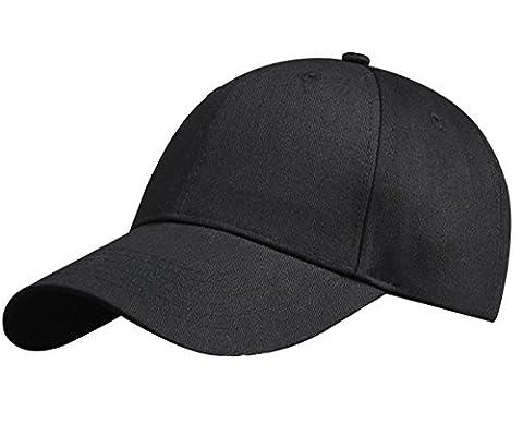 IKuaFly Casquette Baseball Snapback Hip Pop Couleur Unie Ajustable 6 Panneaux Taille Unique Golf Hat Motorcycle Trucker Cap - Homme Femme (noir)
