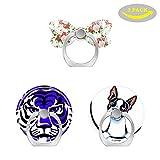 Ringqueens Handy-Ringhalter mit 3 Haken für Smartphones (rosafarbene Rosen und Blumen, Pastellblau gestreift, Blauer Tiger-Boston Terrier it All About me)