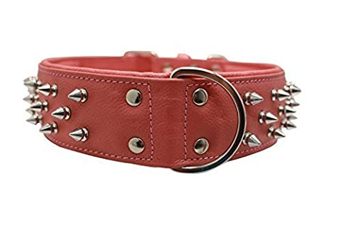 Spiked Studded Leather Dog Collar, Wide, Padded, Double-Ply, 26