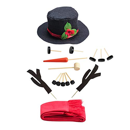 MOGOI Snowman Kit, 16PCS Snowman Making Kit Christmas Snowman Decorating Kit for Kids Outdoor Fun Winter Party Holiday Craft ()