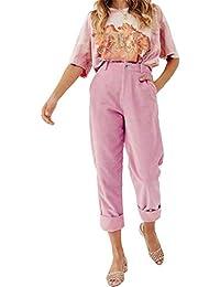 TOOGOO Pantalones De Pana De Color Solido De Moda Para Mujer Pantalones De  Dobladillo De Pie Enrollable Informal… 7bee524ccbc3