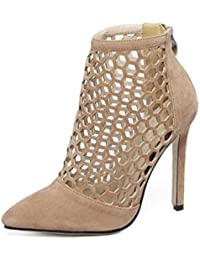 ZWME Zapatos De Tacón Alto De Aguja De Corte Alto De Moda De Las Mujeres Sandalias Vestido De Fiesta Zapatos Romanos De Tacón De Aguja
