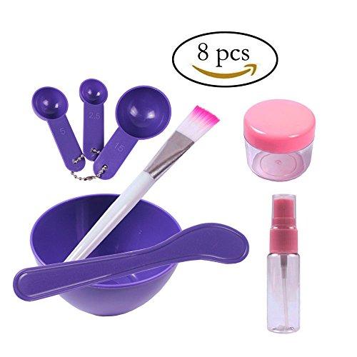 Teenitor 8 in 1 Gesichtsmaske Mischen Werkzeug Sets Lady Gesichtsbehandlung Bowl Stick Pinsel Mess Löffel Frauen DIY Gesicht Pflege Maske Purple