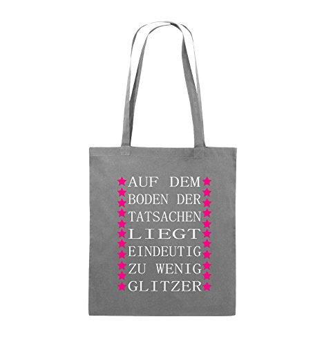 Comedy Bags - Auf dem Boden der Tatsachen liegt eindeutig zu wenig Glitzer - Jutebeutel - lange Henkel - 38x42cm - Farbe: Schwarz / Weiss-Pink Dunkelgrau / Weiss-Pink
