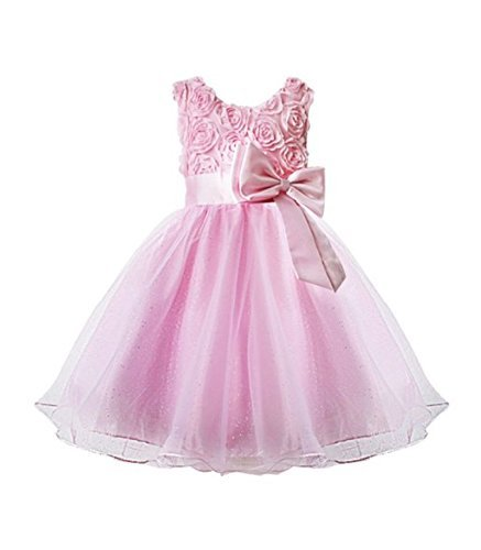 dchen Blumen Formelle Hochzeit Brautjungfer Party Taufkleid Kinder Kleidung Mädchen Spitzenkleid Prinzessin Kleider Kinder Babykleidung Rose Schleife 2-10 Jahre Jahre ()