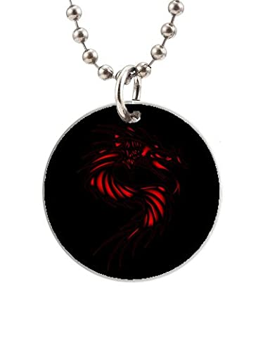 Pendant Necklace Dog Tag The Red Dragon Is on A Black Background Round Chain Stainless Steel Dog Tag for