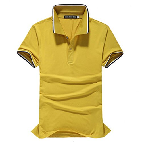Men's Short Sleeve Classic Solid Cotton Camisa Polo Shirt yellow