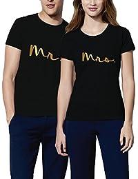 VIVAMAKE® Pack 2 Camisetas para Mujer y Hombre Originales con Diseño Mr y  Mrs 72c56496b443a