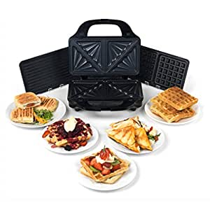 Salter EK2143 Deep Fill 3-in-1 Snack Maker with Waffle, Panini and Toasted Sandwich Plates, 900 W