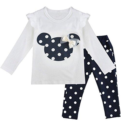 Tiaobug Babykleidung Baby - Mädchen Bekleidung im Set mit Langarmshirt Top und Hose Polka Dots Muster 80 86 92 98 Marineblau 80 (Herstellergröße:80) ? (Zusammen Minnie Maus Kostüm)