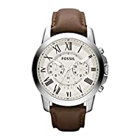 Fossil Grant Men's Cream Dial Leather Chronograph Watch - FS4735IE