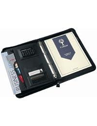 Conférencier à fermeture éclair avec calculatrice, classeur à anneaux, porte-cartes et support de stylet Noir