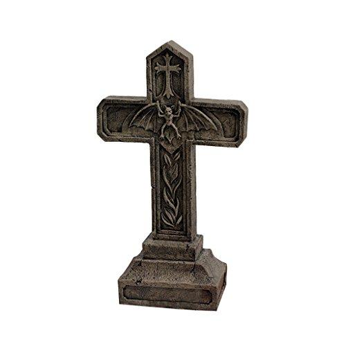 Design Toscano Balkan Vampirblut Halloween Grabstein Gothic-Gartendekor Friedhofstatue, Polyresin, steingrau, 61 cm