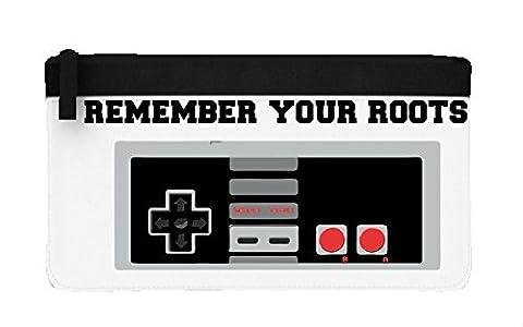 n'oubliez pas vos racines Retro Gamer Manette de jeu Statement Trousse plate taille unique noir