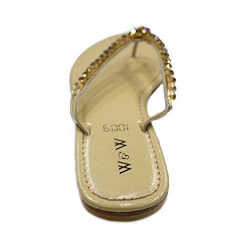 W & W femmes Mesdames Soirée antidérapant sur plat Confort Diamante chaussures sandale taille (Suisse) Doré
