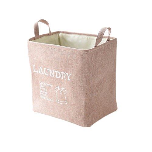 Cesta de almacenamiento, Morbuy Regalo de navidad guardar ropa sucia plegable organizadoras de lino y tela con asas pequeñas para mesa (Rosa)