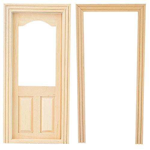 Mootea Puppenhaus Tür, Mini Simulation Holz DIY Tür Möbel für 1/12 Puppenhaus Zubehör Puppenhaus Dekoration Pädagogisches Spielzeug (Home Interior Rahmen, Dekorationen)