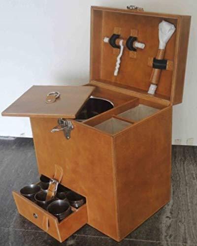 Casa Padrino Luxus Echtleder Minibar/Kofferbar mit Zubehör 32 x 23 x H. 36 cm - Luxus Qualität