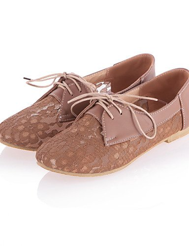 ZQ hug Scarpe Donna - Stringate - Casual - Punta arrotondata - Piatto - Pizzo / Finta pelle - Nero / Beige / Tessuto almond , almond-us6 / eu36 / uk4 / cn36 , almond-us6 / eu36 / uk4 / cn36 black-us6 / eu36 / uk4 / cn36