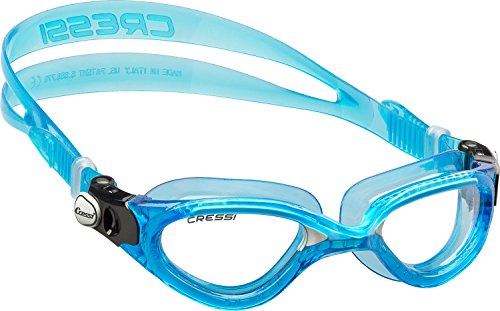 Cressi Flash - Premium Erwachsene Schwimmbrille Antibeschlag und 100{72f7542c18268d78022fbab2b3c9c077d36753d6d04442eb10ba0a5abf75f985} UV Schutz, Blue/Weiß - Transparent Linsen, One Size