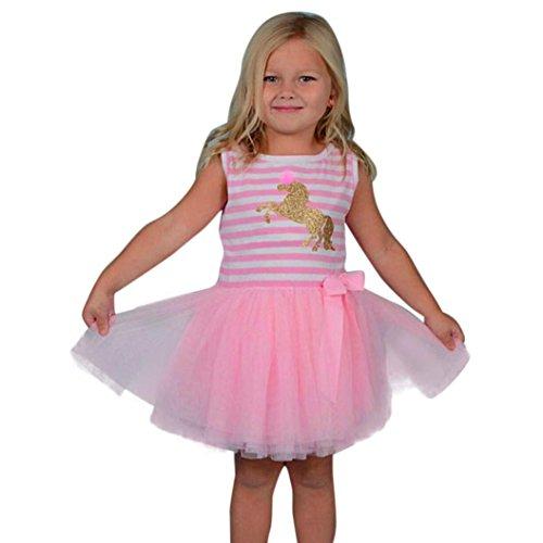 n Ärmellos Pferd drucekn Shirt Flickwerk Tütü Mehrschichtig flauschig röcke Kinder locker Sport Kleider Baby Sommer Strand gestreift Mini Kleid,1-6 Jahren alt (4 Jahren, Rosa) ()