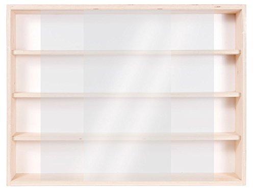 V60.4- Vitrine murale 60 x 39 x 8,5 cm Rayonnages rangement étagère en bois brut collection collection miniature collecteur affichage pion petit article vitres en plexiglas clair meuble armoire pas cher