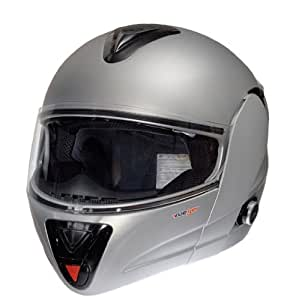 rueger Bluetooth Klapphelm mit zusätzlichen klappbarem Sonnenvisier RS-980-Com Matt Silber mit neuester ECE 22/05 Größe L (59-60)