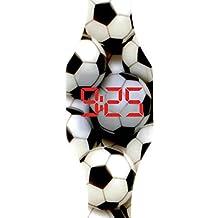 Reloj LED Digital niño chico, infantil y joven, de pulsera, correa de suave silicona, trendy regalo, futbol Kiddus KI10210