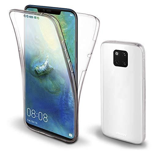 Moozy 360 Grad Hülle für Huawei Mate 20 Pro - Vorne und Hinten Transparenter TPU Ultra Dünn Weiche Silikon Handyhülle Case