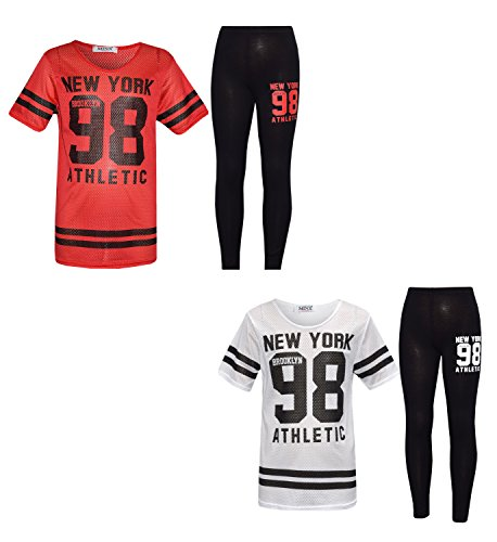 GUBA® Girl's New York 98 Net Top & Legging Set Kid's 2 Pieces Fashion Outfits Age 7-13 Years