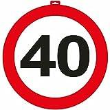 Carpeta - Riesen Verkehrsschild * Zahl 40 * ┃ Ø 47,5cm ┃ Deko 40. Geburtstag ┃ Türschild und Straßenschild ┃ mit & Ohne Aufhänger ✔