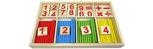 ri Mathe Spielzeug aus Holz zum Zahlen lernen mit Rechen-Stäbchen, Bunt / Natur ab 3 Jahre für die frühe Motorik Entwicklung & Ausbildung ihres Kindes (Mathe-spielzeug)