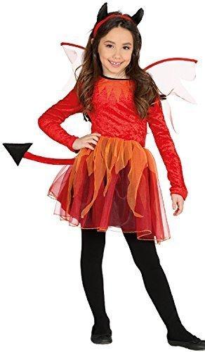 Wings Kostüm Demon - Mädchen Fire Devil Schwanz Hörner Wings Fantasie Demon Halloween Horror unheimlich Kostüm Kleid Outfit 3-12 Jahre - 10-12 Years