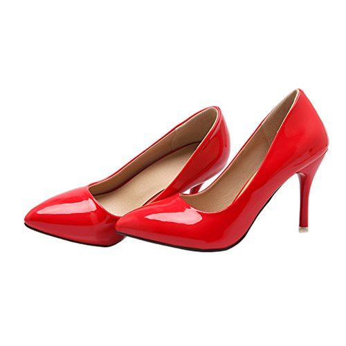 ENMAYER Womens Slip on Stiletto High Heels Pointed Toe Pumps Chaussures en cuir verni Rouge