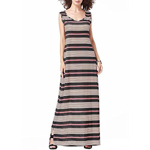SG Strick Druck Maxi Kleid Rundhals langen Kleid Streifen Blumenkleid Schwarz + Rot