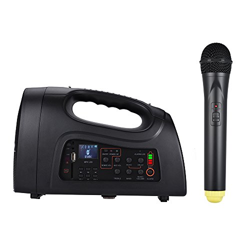 �rker Multifunktionale Lautsprecher Vocal 6 Zoll mit Mikrofon tragbar Halterung Wired/Wireless VHF/UHF Micro Akku wiederaufladbar Radio FM MP3-Funktion pa-101 (Vocal Mikrofon Wireless)