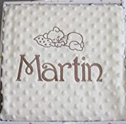 Manta bebé minicuna y capazo, doble capa color BEIGE, personalizada con el nombre y el diseño que elija bordad