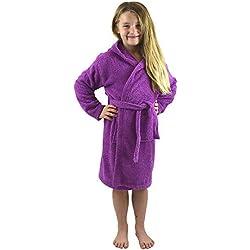 CityComfort Peignoir pour Enfants Petit Garçon Fille avec Capuche 100% Coton Robe de Chambre Serviette Doux Éponge de Coton 7-13 Ans (7-8, orchidée)