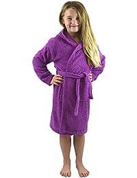 CityComfort Peignoir pour Enfants Petit Garçon Fille avec Capuche 100% Coton Robe de Chambre Serviette Doux Éponge de Coton 7-13 Ans