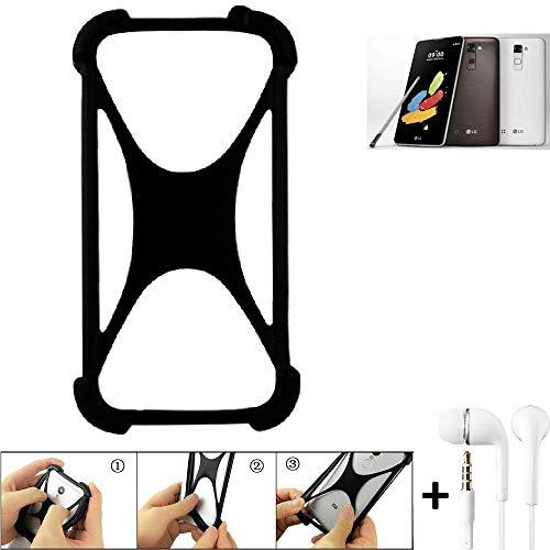 K-S-Trade Handyhülle LG Electronics Stylus 2 DAB+ Bumper Schutzhülle Silikon Schutz Hülle Cover Case Silikoncase Silikonbumper TPU Softcase Smartphone, schwarz (1x), Headphones